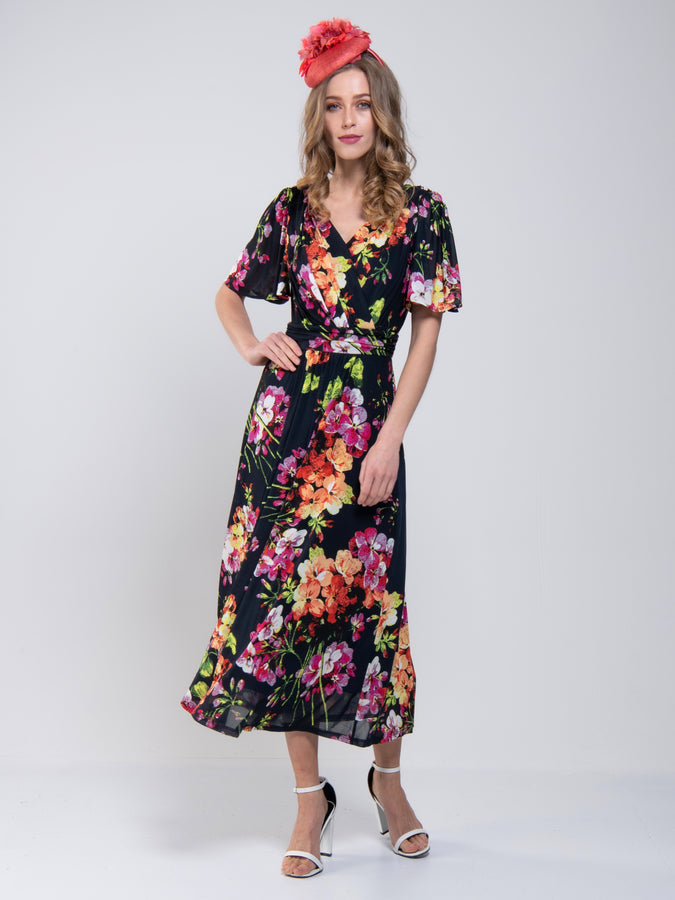 Printed Mesh Long Midi Dress