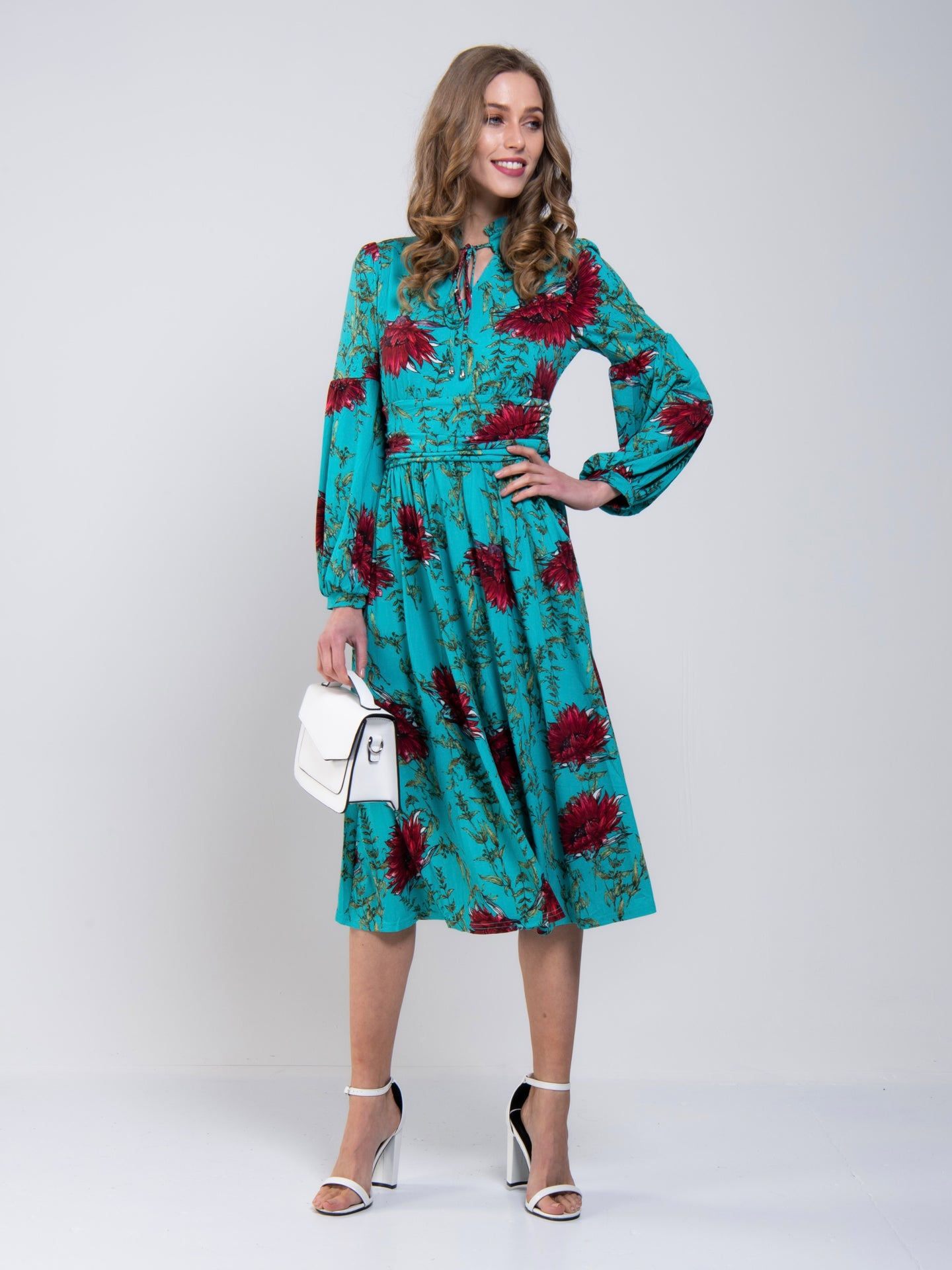 Print Long Sleeve Midi Dress, Teal Floral