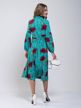 Load image into Gallery viewer, Print Long Sleeve Midi Dress, Teal Floral