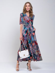 Half Sleeve Wrap Front Maxi Dress, Paisley Multi