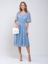 Load image into Gallery viewer, Flare Lace Midi Bridesmaid Dress
