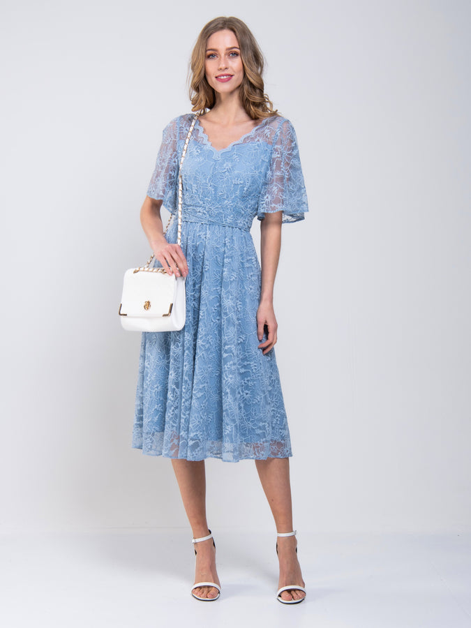 Flare Sleeved Lace Midi Dress
