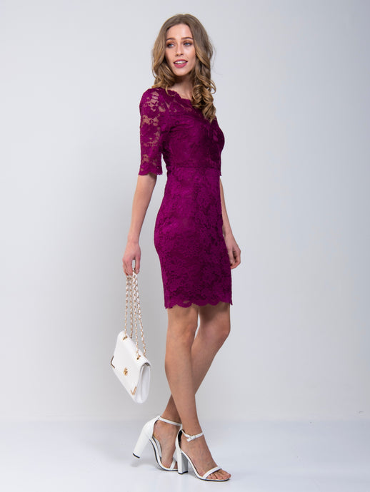 Scalloped V-Neck Lace Dress