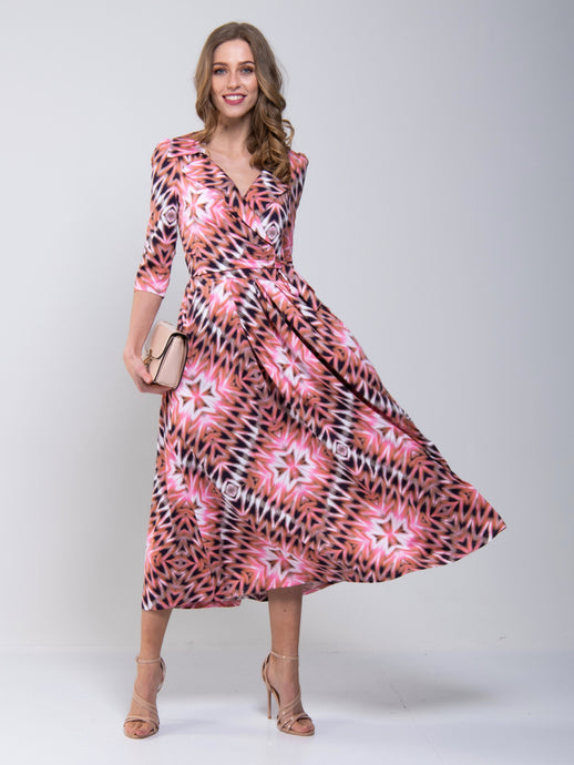 Cross Over Tie Waist Maxi Dress, Pink Multi