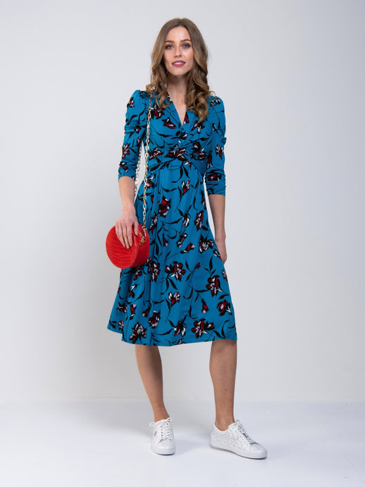 Jolie Moi Twisted Knot Dress, Teal Floral