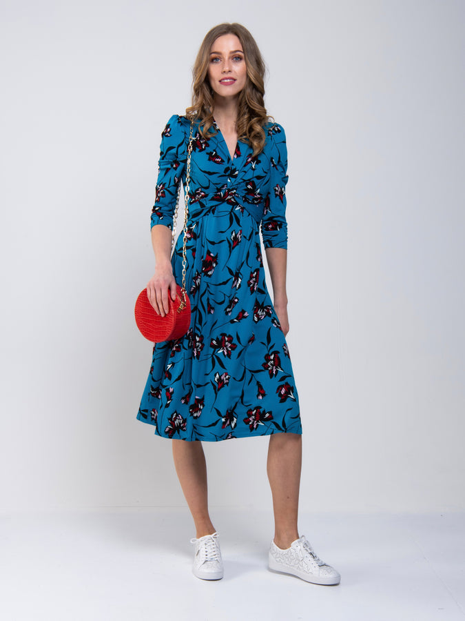 3/4 Sleeve Twisted Knot Jersey Dress