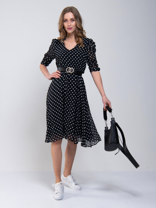 V-Neck Ruched Sleeve Tea Dress