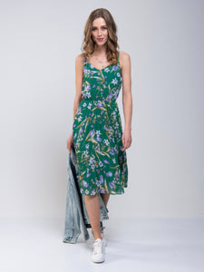 Strappy Floral Pleated Midi Dress, Green Floral