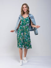 Load image into Gallery viewer, Strappy Floral Pleated Midi Dress, Green Floral