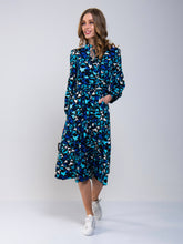 Load image into Gallery viewer, Print Long Sleeve Midi Dress, Navy Star