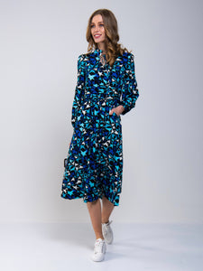 Print Long Sleeve Midi Dress, Navy Star