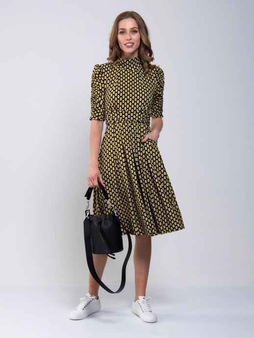 Geometric Print Turtleneck Jersey Dress