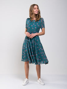 Floral Print Chiffon Tea Dress, Teal Floral