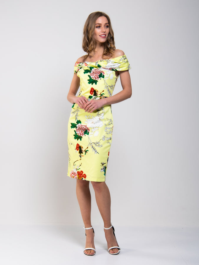 Retro Floral Print Bardot Dress