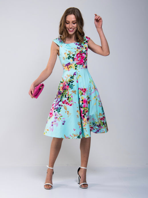 Floral Print Scoop Neck Swing Dress
