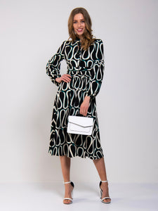 Print Long Sleeve Midi Dress, Black Pattern