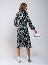Load image into Gallery viewer, Print Long Sleeve Midi Dress, Black Pattern