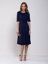 Load image into Gallery viewer, Jolie Moi Roll Collar 50s Dress, Navy