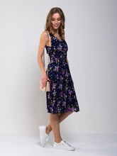 Load image into Gallery viewer, Strappy Floral Pleated Midi Dress, Navy Floral