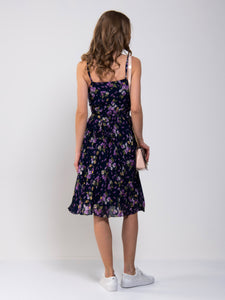 Strappy Floral Pleated Midi Dress, Navy Floral