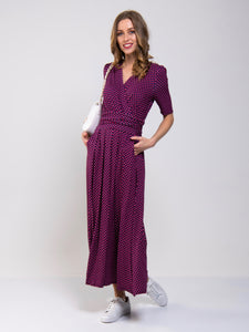 Printed Viscose Crossover Maxi Dress
