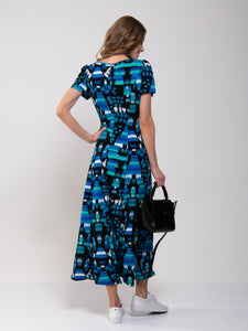 Abstract Print A-Line Maxi Dress