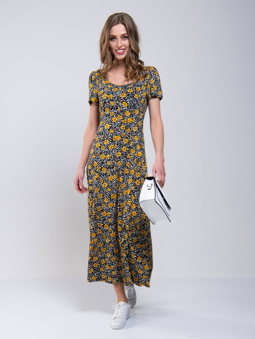 Jolie Moi Abstract Print A-Line Maxi Dress