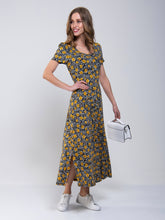 Load image into Gallery viewer, Abstract Print A-Line Maxi Dress