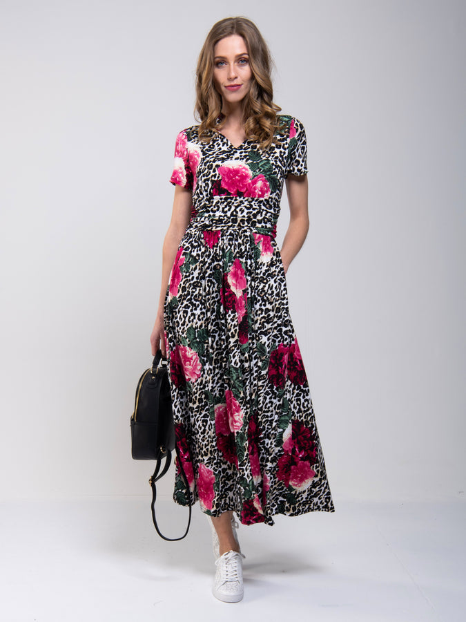 Stand Collar V Neck Print Maxi Dress