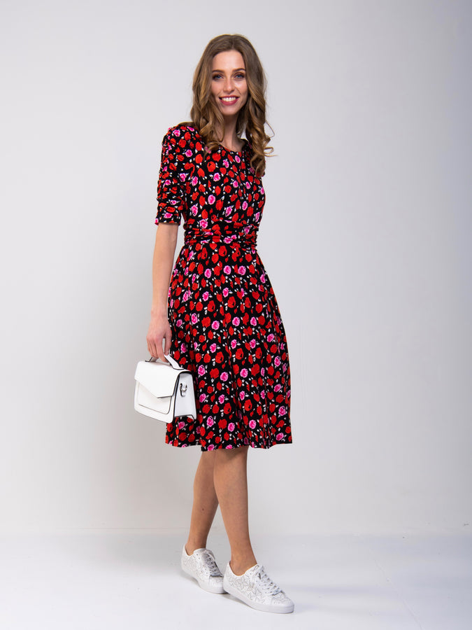 Ruched Sleeve Print Jersey Midi Dress
