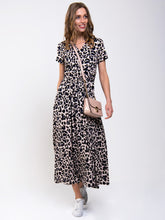Load image into Gallery viewer, Stand Collar V Neck Maxi Dress, Pink Animal