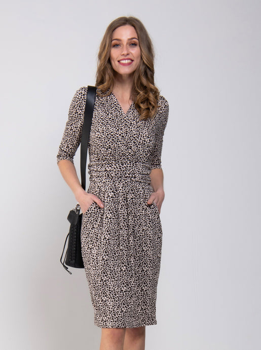 Jolie Moi Leopard Wrap Front Tulip Dress