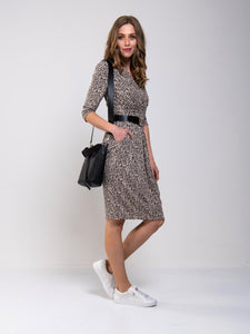 3/4 Sleeve Crossover Print Jersey Dress