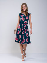 Load image into Gallery viewer, Jolie Moi Cowl Neck Floral Print Jersey Midi Dress, Teal Floral