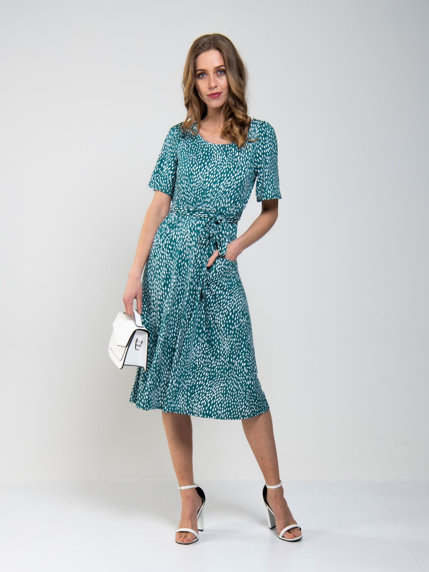 Belted Midi Jersey Dress, Green Animal