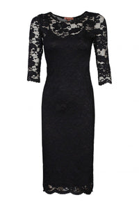 Scallop Floral Lace Dress, Black