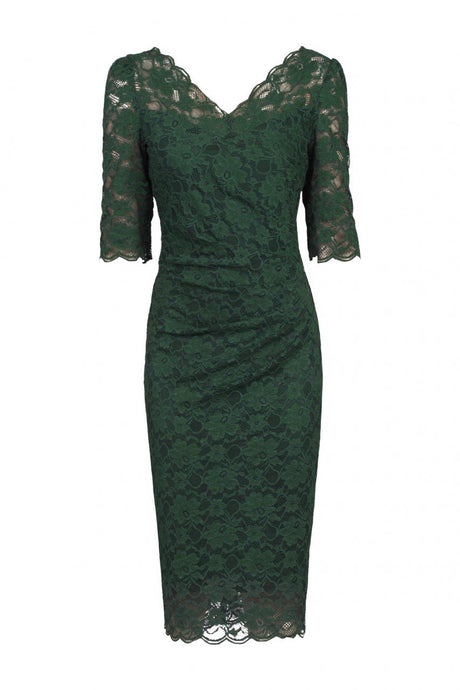 Three-Quarter Sleeve Scalloped Lace Dress, Dark Green