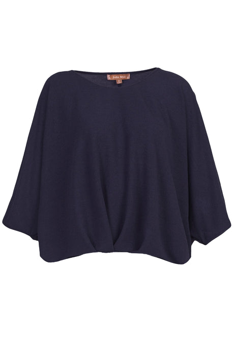 Ruched Batwing Top, Navy