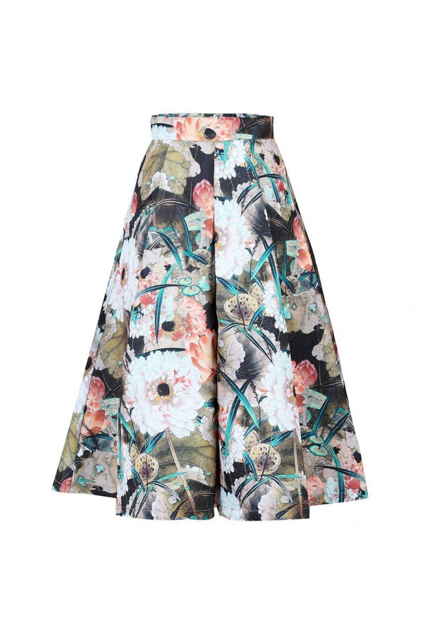 Floral Print 50s A-line Skirt