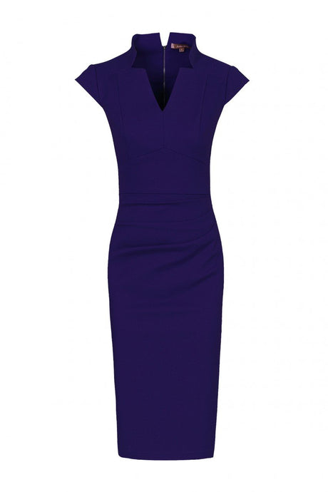 Jolie Moi High Collar Bodycon Dress, Royal Blue