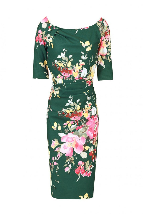 Floral Print Half Sleeve Ruched Dress, Dark Green