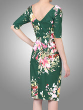 Load image into Gallery viewer, Floral Print Half Sleeve Ruched Dress, Dark Green