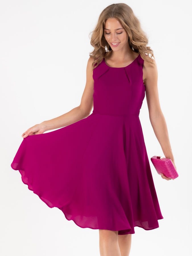 Crepe Chiffon Belted Flare Dress