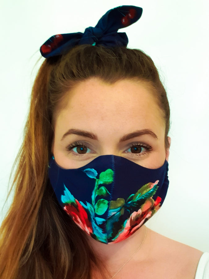 Cotton Face Mask With Filter Pocket, Navy Floral