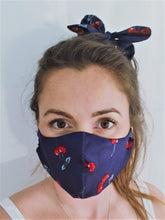 Load image into Gallery viewer, Fabric Face Mask With Filter Pocket, Navy Cherry