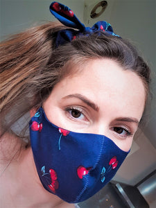 Fabric Face Mask With Filter Pocket, Navy Cherry