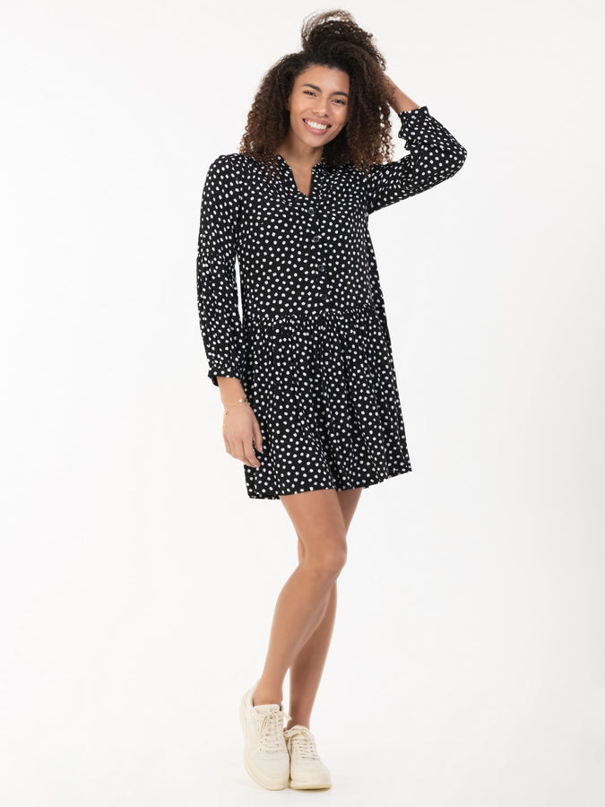 Penele Printed Viscose Shirt Dress, Black Geo