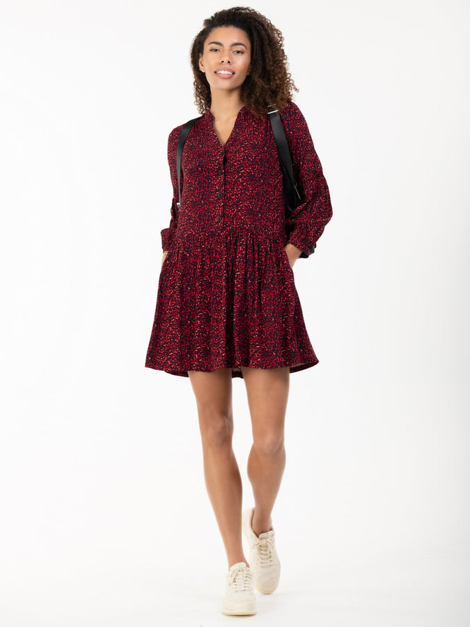 Penele Printed Viscose Shirt Dress, Red Animal