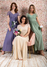Load image into Gallery viewer, Short Sleeve Lace Maxi Bridesmaid Dress