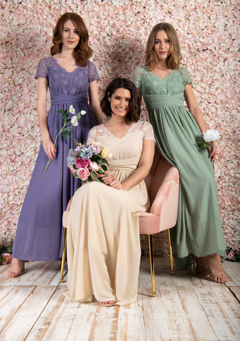 Short Sleeve Lace Maxi Bridesmaid Dress